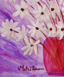 Watercolor Painting My Daisies By Artist Ramona Matei